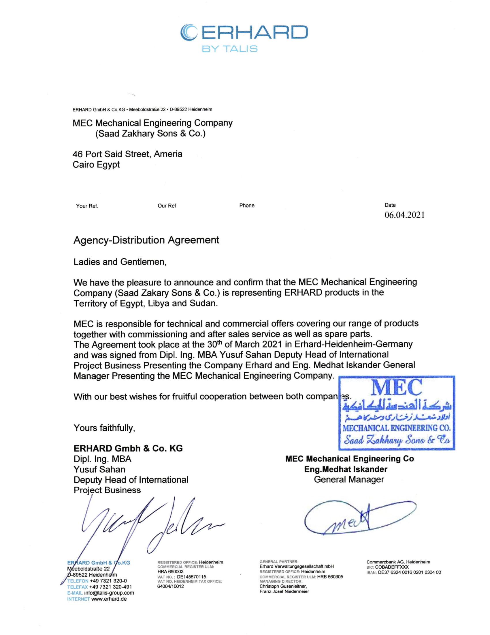 Agency Distribution Agreement ERHARD_MEC_April 2021-1